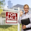 Real Estate Agent in Front of For Sale Sign, House — Stock Photo #57623955