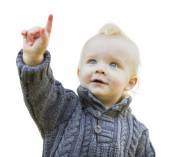 Cute Little Boy In Sweater Pointing On White — Stock Photo