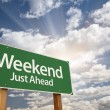 Weekend Just Ahead Green Road Sign — Stock Photo #60175441