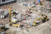 Aerial View of Construction Site with Extreme Bokeh. — Stock Photo