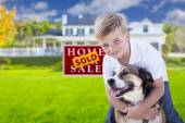 Boy and His Dog in Front of Sold Sign, House — Stock Photo