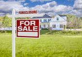 Foreclosure Home For Sale Sign in Front of Large House — Stock Photo