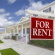 For Rent Real Estate Sign in Front of House — Stock Photo #62821269