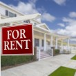 For Rent Real Estate Sign in Front of House — Stock Photo #62821283