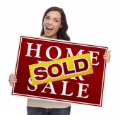 混血の女性販売サインの販売ホーム — ストック写真