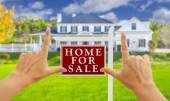 Hands Framing For Sale Real Estate Sign and New House — Stock Photo