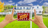 Hands Framing Sold For Sale Real Estate Sign and House — Stock Photo