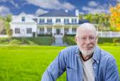 Senior Adult Man in Front of House — Stock Photo