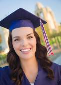 Happy Graduating Mixed Race Woman In Cap and Gown — Stock Photo