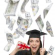 Female Graduate Holding One Hundred Dollar Bills with Many Falling Around Her — Stock Photo #63914661