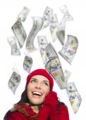 Young Excited Woman with Hundreds of Dollars Falling Around Her — Stock Photo