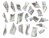 Set of Falling or Floating One Hundred Dollar Bills Each Isolated with No Overlap - Build Your Own. — Stock Photo