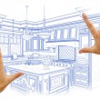 Hands Framing Blue Custom Kitchen Design Drawing — Stock Photo #65098535