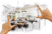 Hands Framing Custom Kitchen Design Drawing and Photo Combinatio — 图库照片