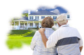 Daydreaming Senior Couple Over Custom Home Photo Thought Bubble — Stock Photo