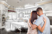 Young Military Couple Inside Custom Kitchen and Design Drawing C — Stock Photo