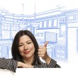 Hispanic Woman with Thumbs Up, Custom Kitchen Drawing Behind — Fotografia Stock  #65642641