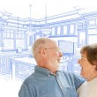 Senior Couple Over Custom Kitchen Design Drawing on White — Stock Photo #65642671