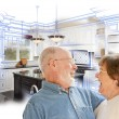 Senior Couple Over Kitchen Design Drawing and Photo on White — Stock Photo #65642683