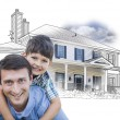 Father and Son Over House Drawing and Photo on White — Stock Photo #65642721