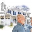 Happy Senior Couple Over House Drawing and Photo on White — Stock Photo #65642857