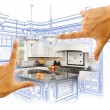 Hands Framing Custom Kitchen Design Drawing and Photo Combinatio — Stock Photo #65642897