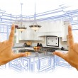Hands Framing Custom Kitchen Design Drawing and Photo Combinatio — Stock Photo #65642903