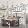 Beautiful Custom Kitchen Design Drawing with Ghosted Photo Behin — Stock Photo #65642909