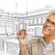 Woman With Pencil Drawing Custom Kitchen Design — Stock Photo #65642917