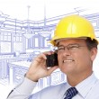 Contractor in Hardhat on Phone Over Custom Kitchen Drawing — Stock Photo #65642919