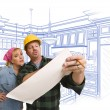 Contractor Discussing Plans with Woman, Kitchen Drawing Behind — Stock Photo #65642943