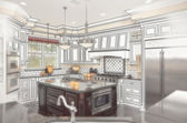 Beautiful Custom Kitchen Design Drawing with Ghosted Photo Behin — Stock Photo
