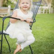 Cute Playful Baby Girl Portrait Outside at Park — Stock Photo #66171159