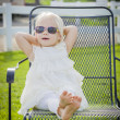 Cute Playful Baby Girl Wearing Sunglasses Outside at Park — Stock Photo #66171209