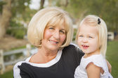 Grandmother and Granddaughter Playing At The Park — Stock Photo