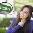 Young Woman with Thought Bubble of Jesus Green Road Sign — Stock Photo #67843429