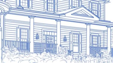Drawing of House Transitioning Back To Reveal Finished Home — Stock Video