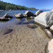 Beautiful Clear Water Shoreline of Lake Tahoe with Natural Audio in the Background — Stock Video #68201623