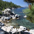 Beautiful Clear Water Shoreline of Lake Tahoe with Natural Audio in the Background — Stock Video #68202179
