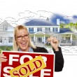 Woman Holding Keys, Sold Sign Over House Photo and Drawing — Stock Photo #69969163