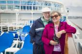 Senior Couple Enjoying The Deck of a Cruise Ship — Stock Photo