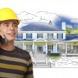 Hispanic Construction Worker on Phone Over House Drawing and Pho — Stock Photo #77658124