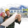 Woman with Contractor Over House Drawing and Photo on White — Stock Photo #77658312