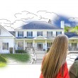 Young Family Facing House Drawing and Photo — Stock Photo #77658496