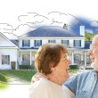 Happy Senior Couple Over House Drawing and Photo on White — Stock Photo #77658576