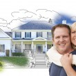 Hugging Couple Over House Drawing and Photo on White — Stock Photo #77658610
