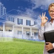 Businesswoman Making Okay Hand Sign with Ghosted House Drawing B — Stock Photo #78540984