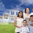 Hispanic Family with Ghosted House Drawing Behind — Stock Photo #78541418
