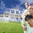 African American Family with Ghosted House Drawing Behind — Stock Photo #78541434