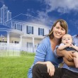Mixed Race Family with Ghosted House Drawing Behind — Stock Photo #78541448